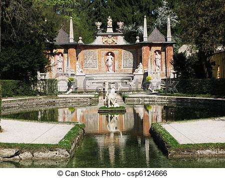 Stock Image of Famous trick fountains at Hellbrunn palace.