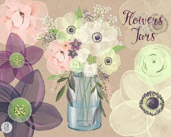 Watercolor Mason Jar Baby Breath, Anemone, Cream Rose, Hellebores.