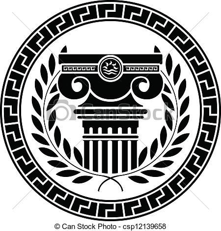 Clipart Vector of hellenic column and laurel wreath csp12139658.