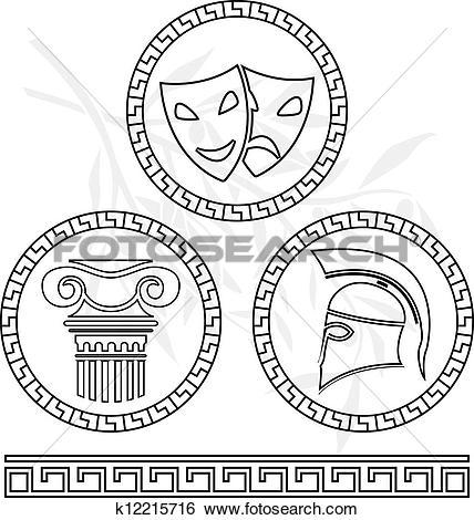 Clip Art of stencils of hellenic images k12215716.
