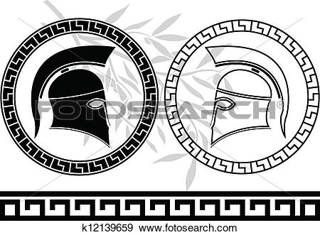 Clip Art of hellenic helmets and olive branch k12139659.