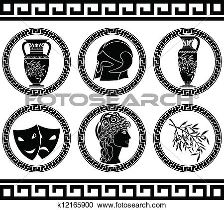 Clipart of hellenic buttons. stencil k12165900.