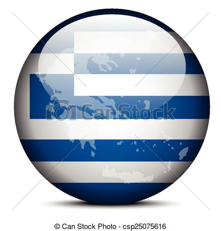 Vector Clip Art of Map on flag button of Hellenic Republic, Greece.