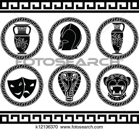 Clipart of hellenic buttons. stencil k12136370.