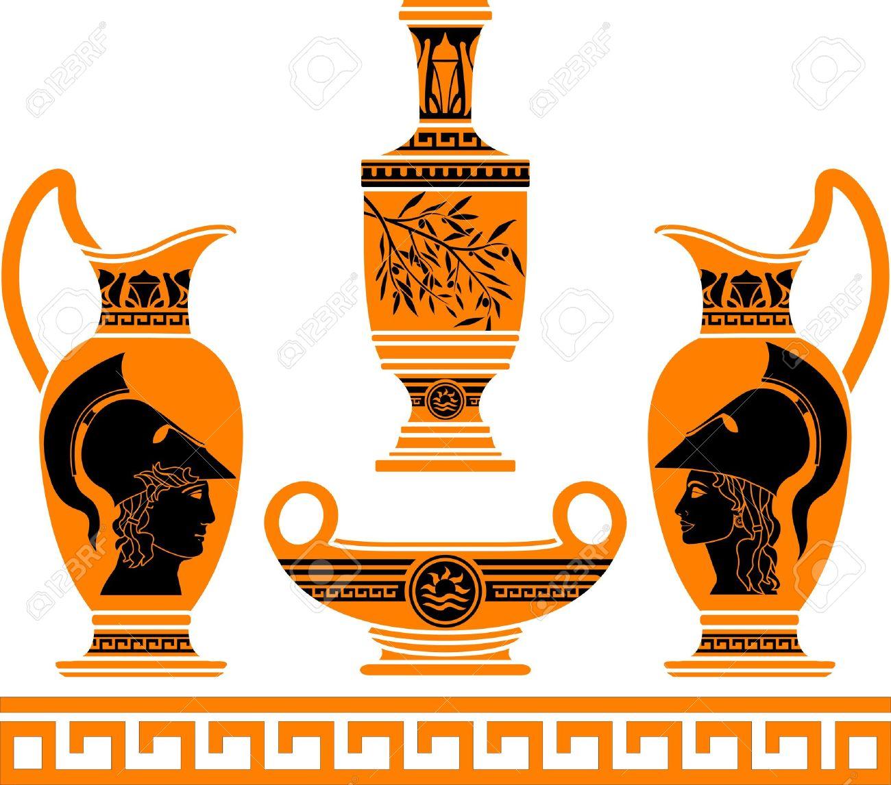 Set Of Hellenic Vases. Stencils. Royalty Free Cliparts, Vectors.