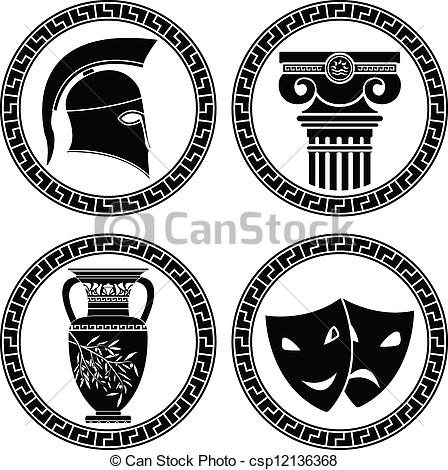 Clip Art Vector of hellenic buttons. stencil. second variant.