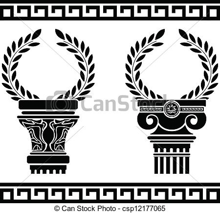 Clip Art Vector of greek columns with wreaths. stencil csp12177065.
