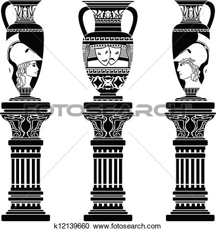 Clipart of hellenic jugs with columns k12139660.