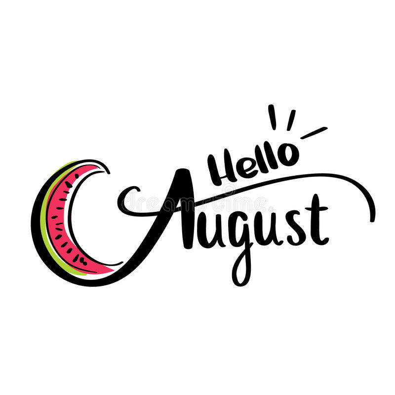 Hello August Stock Illustrations.