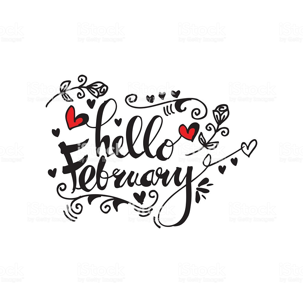 Hello February Hand Lettering Greeting Card Stock Illustration.