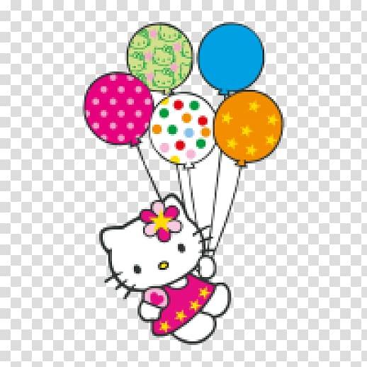 Hello Kitty holding balloons sticker, Hello Kitty Birthday.