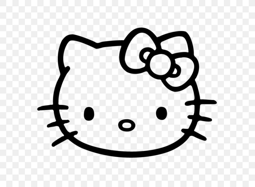 Hello Kitty Vector Graphics Black And White Image Drawing.