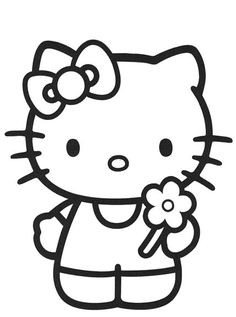 Hello Kitty Black And White Coloring Pages.