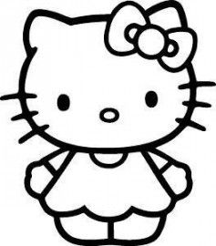 hello kitty black and white cute.