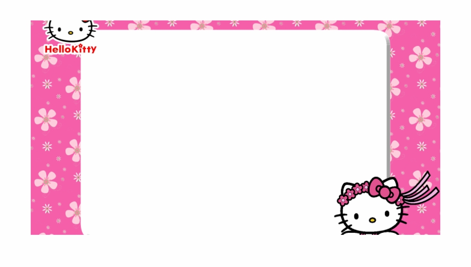 Free Printable Hello Kitty Pink Floral Picture Frame.
