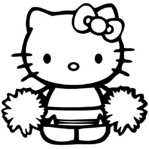 hello kitty coloring pages cheerleader.