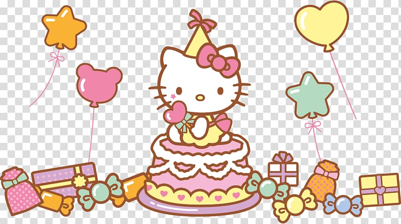 Hello Kitty party themed illustration, Hello Kitty Birthday.