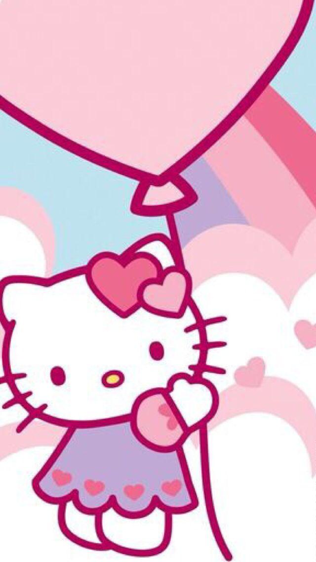 Hello kitty holding a balloons.