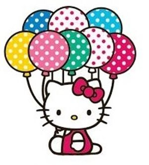 Hello Kitty Holding Balloons Clipart.