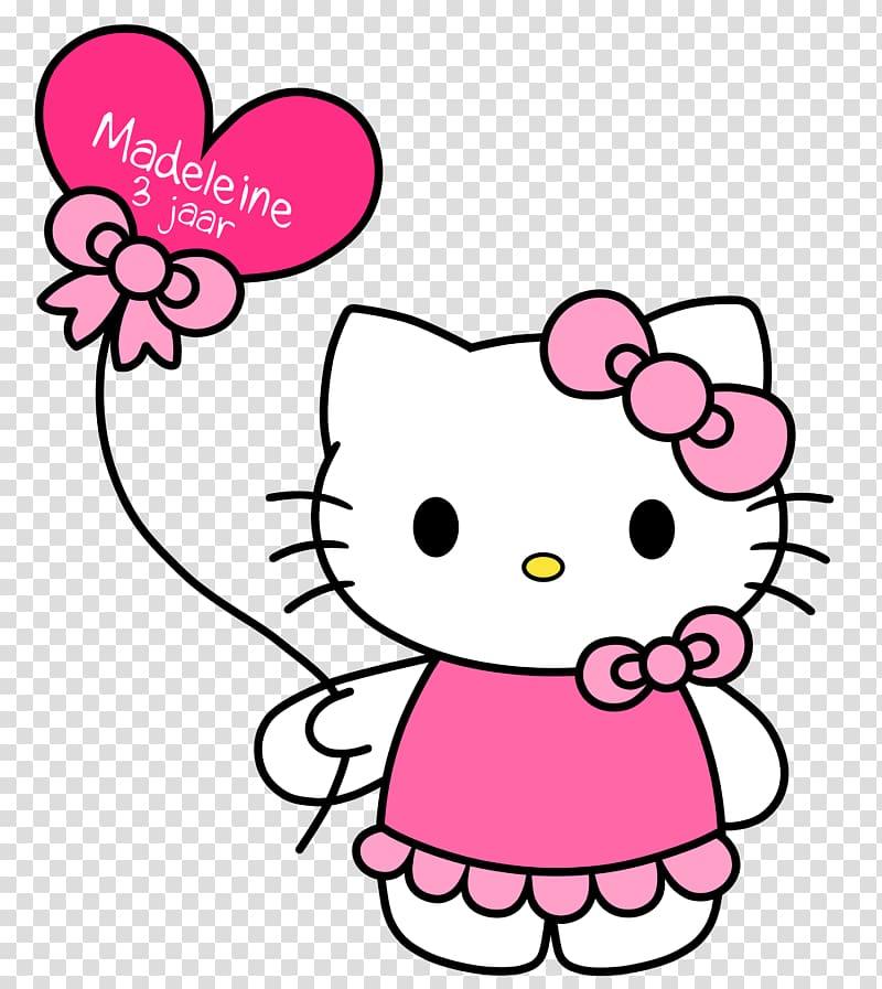 Hello Kitty holding balloon illustration, Hello Kitty.