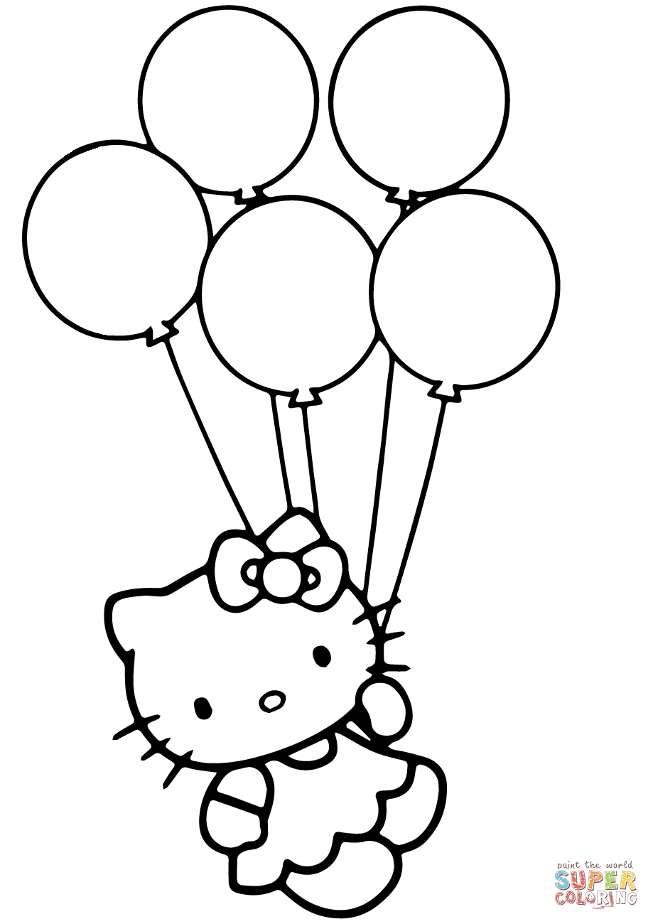 Hello Kitty Balloons Coloring Pages.