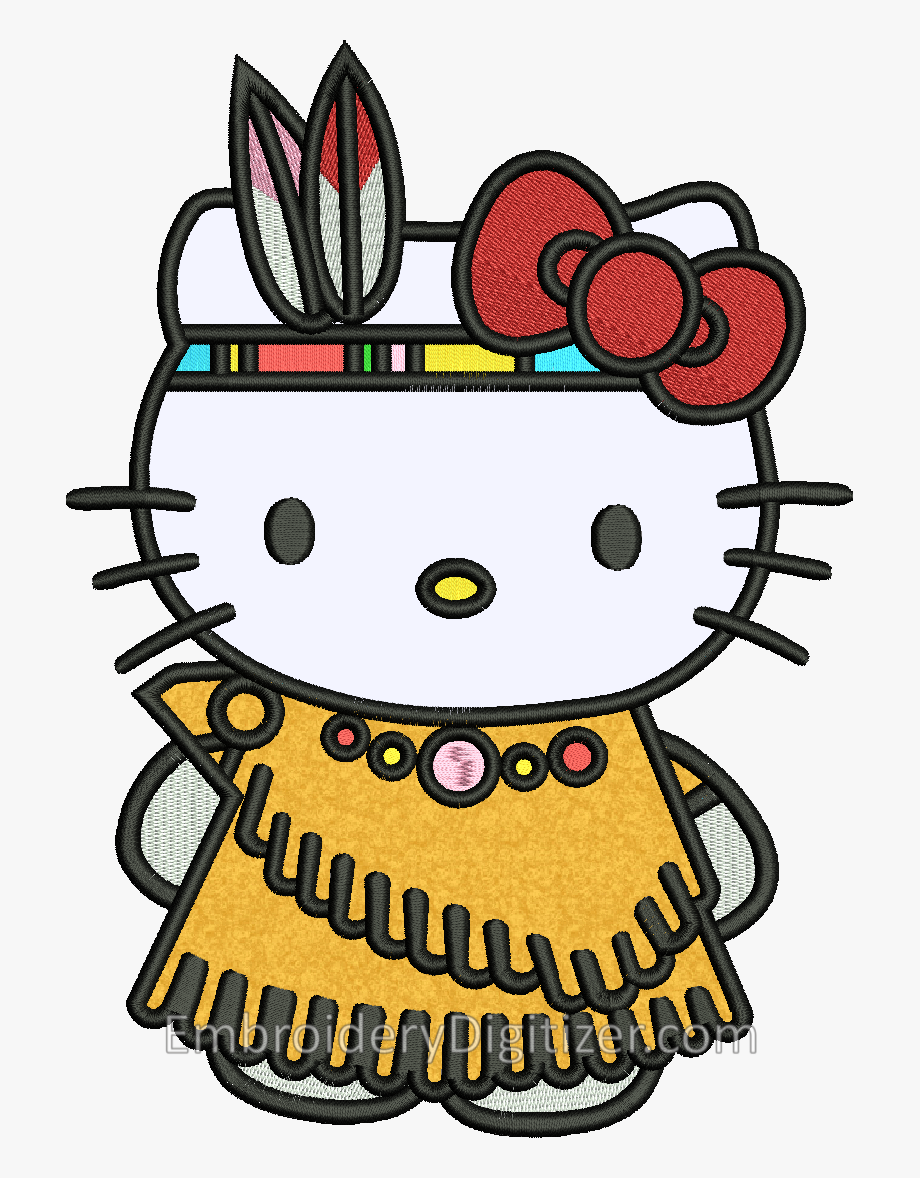 Hello Kitty Embroidery Design Looks Awesome In A Tribal.