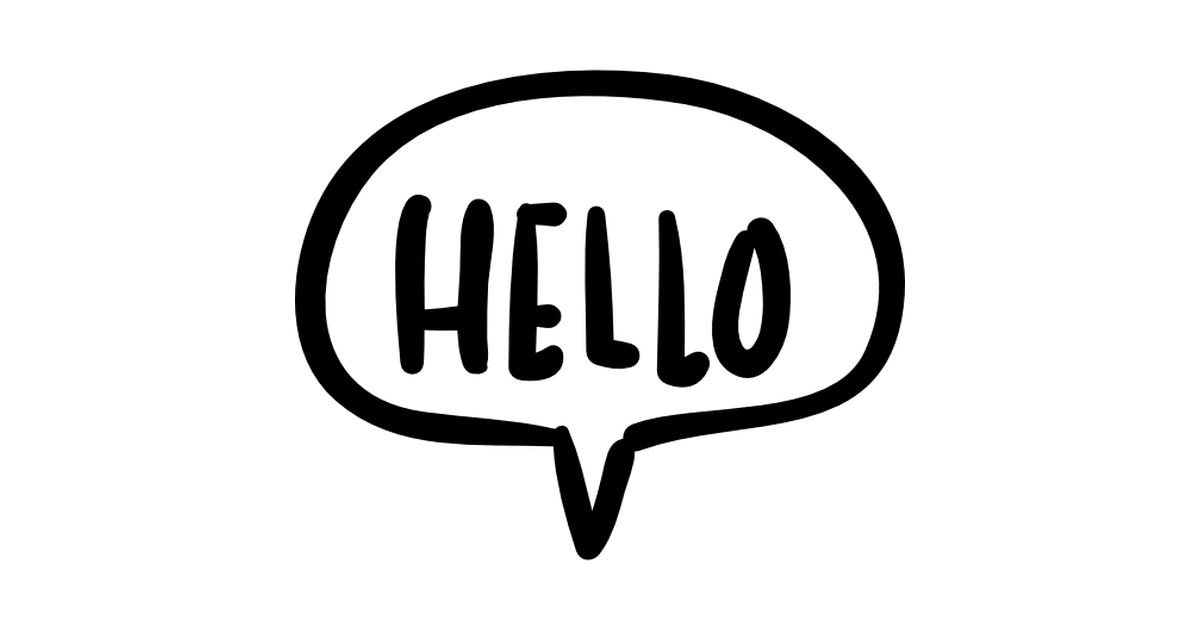 Hello speech bubble handmade chatting symbol.