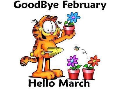 Cute Goodbye February Hello March Clipart Images.