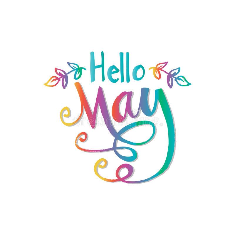 Hello May Inscription Stock Illustrations.