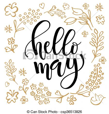 Hello May lettering typography.