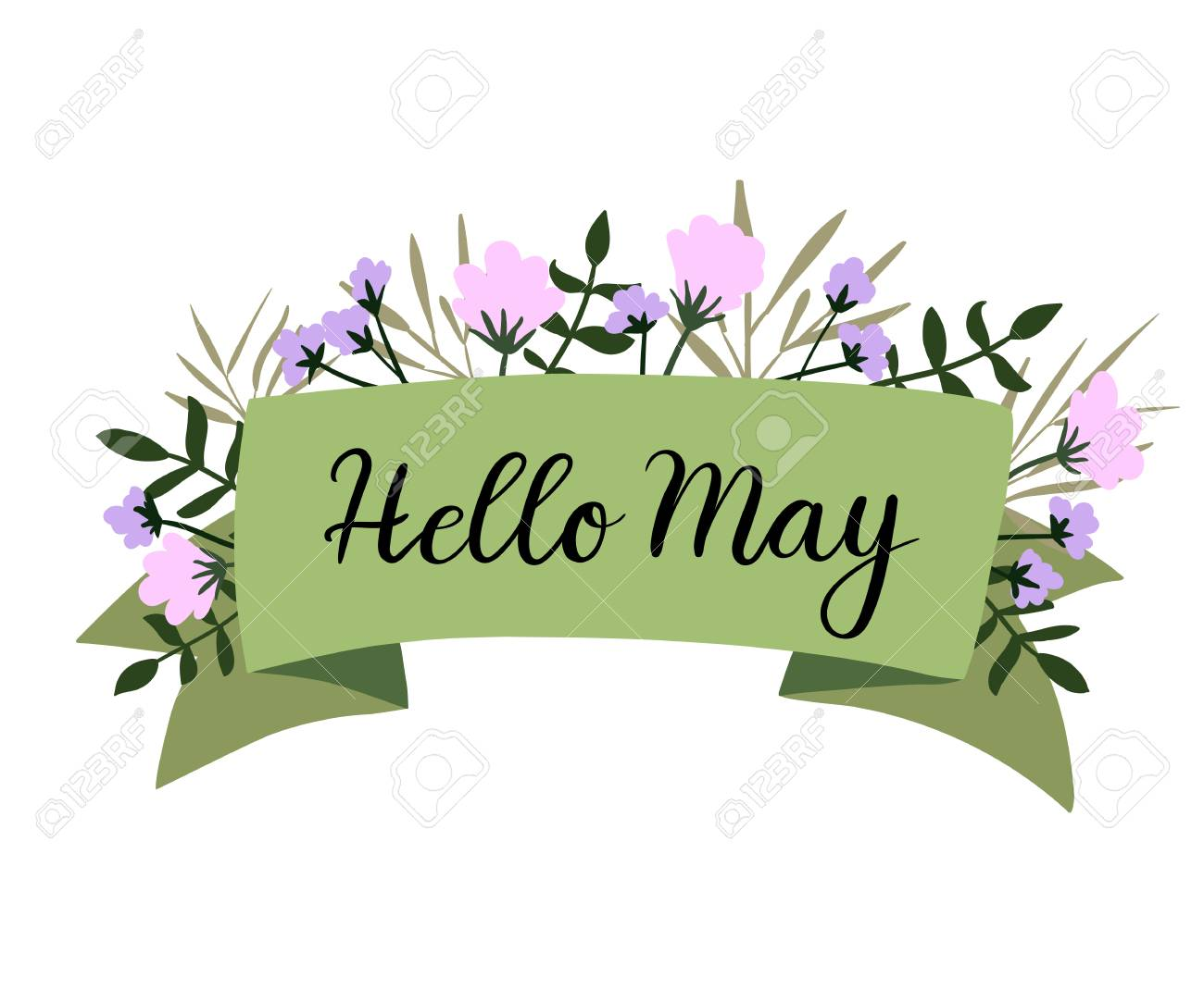 Hello May hand lettering greeting card, banner, invitation. Modern...