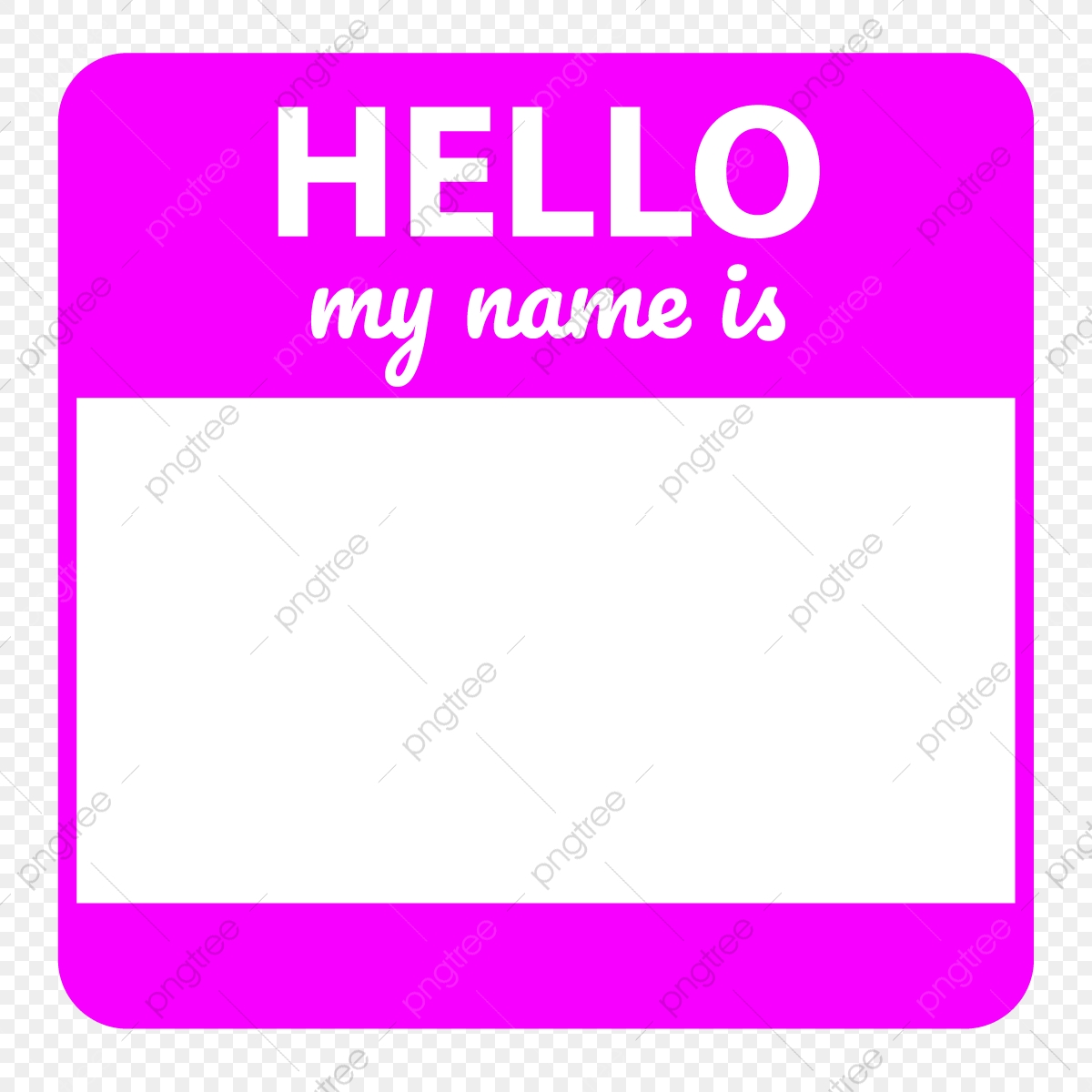 Hello My Name Is Pink Template, White, Hello My Name Is, Hello PNG.