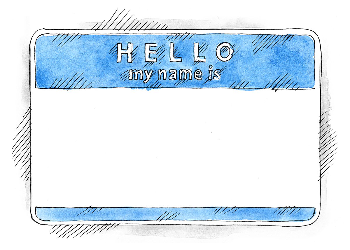 Free EPS+PSD Watercolor Blue Name Tag Hello My Name Is on.