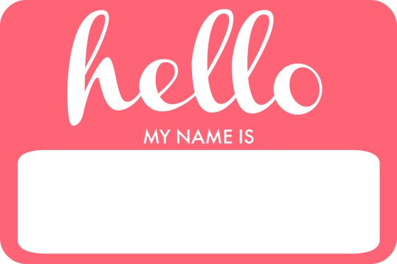 Hello, my name is\' free printable in pink. Blue also.