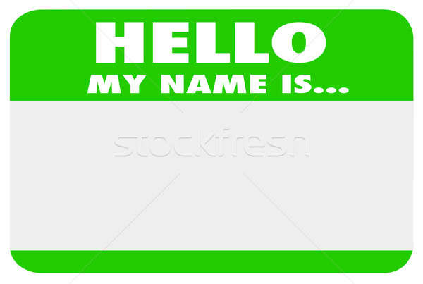 Hello My Name is Blank Green Name Tag Sticker stock photo.