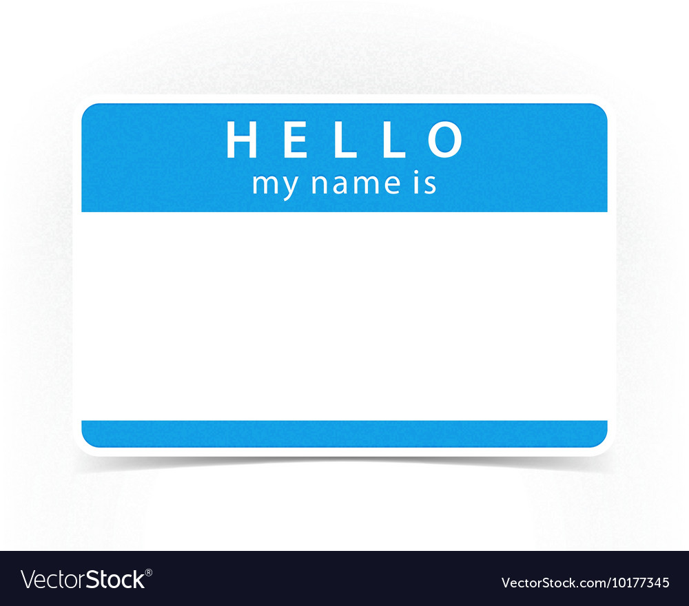 Blue color name tag blank sticker HELLO.