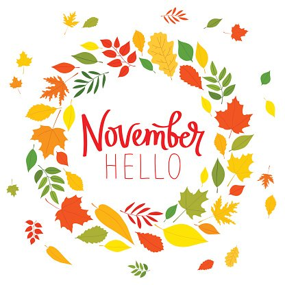 Hello November. The trend calligraphy. Clipart Image.