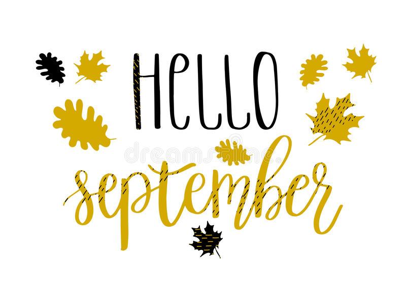Hello September Stock Illustrations.