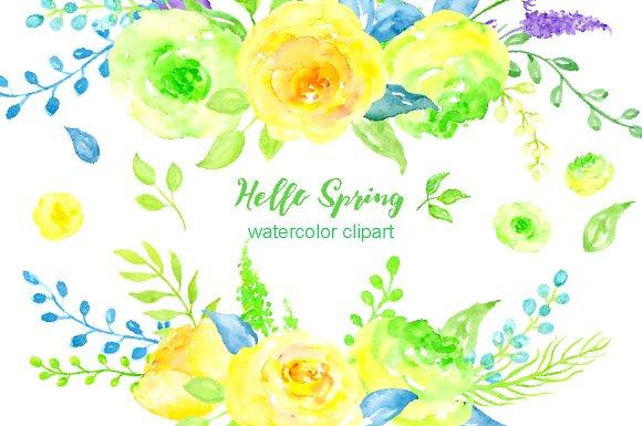 Watercolor Clipart Hello Spring.
