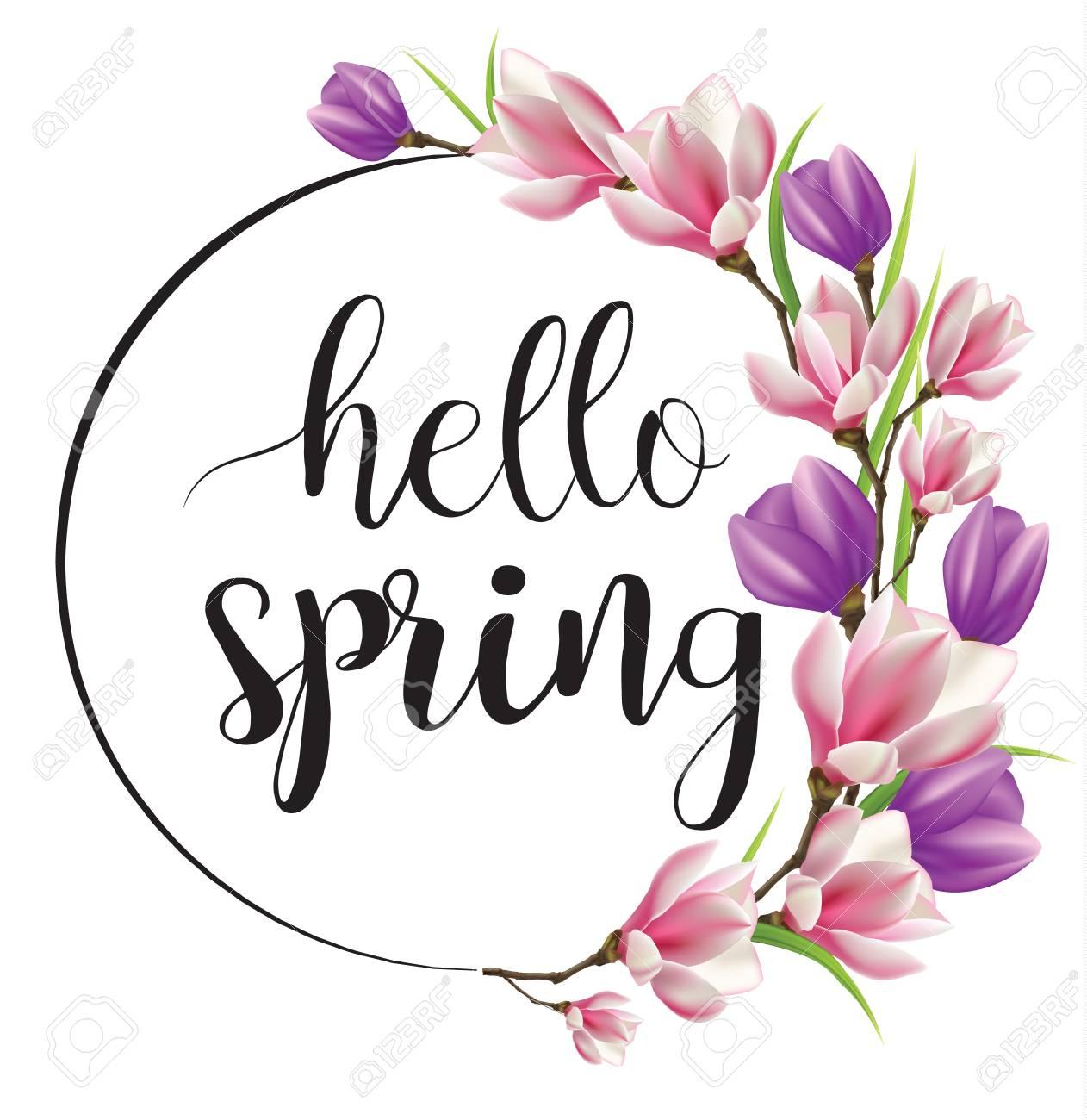 Hello spring, wreath of flowers.