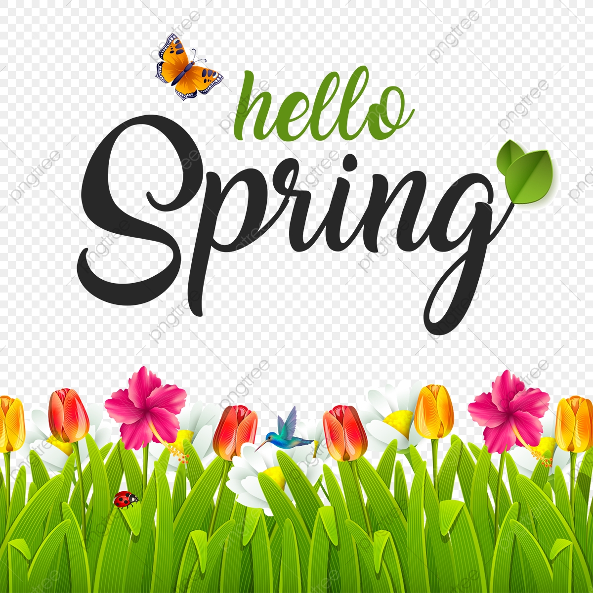 Beautiful Hello Spring, Spring, Green PNG Transparent Clipart Image.