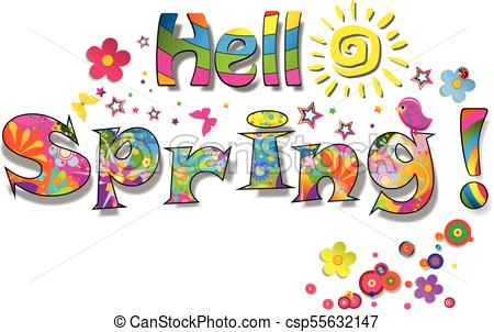Hello spring rainbow lettering isolated on white background..