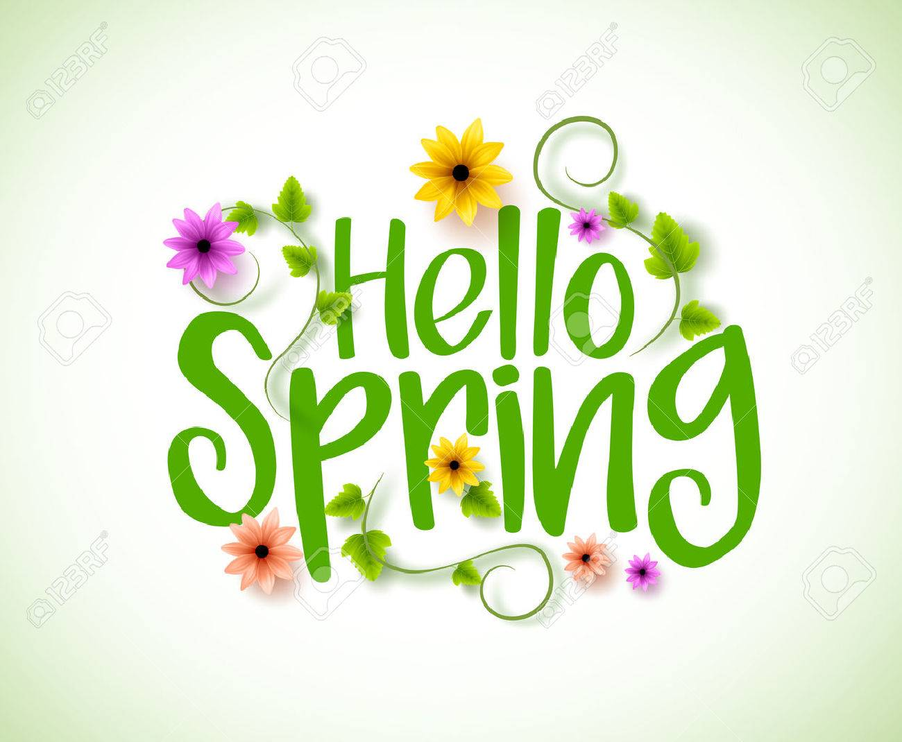 Hello Spring Vector Design with 3D Realistic Fresh Plants and...