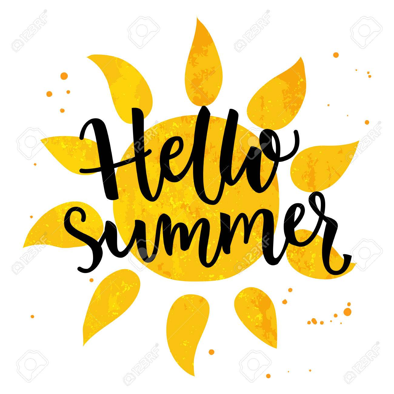 Hello summer banner. Typography poster with sun and lettering.