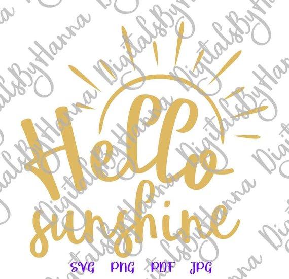 Hello Sunshine SVG File for Cricut Sunshine Baby Shower Sign Wall Art  Lettering.