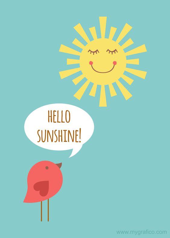 5x7 300 dpi Hello Sunshine FREE print. Featured sunshine.