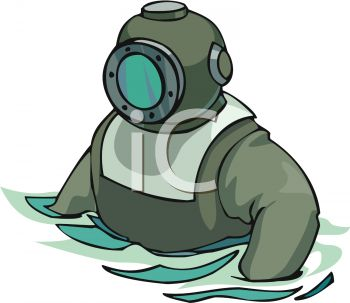 Old Fashioned Deep Sea Diver with Helmet.