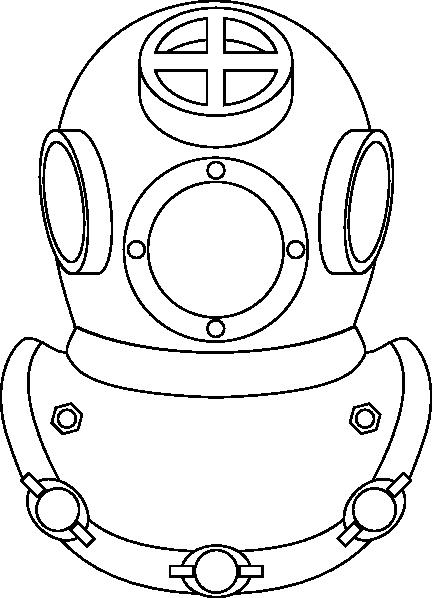 Outline Of Divers Helmet Clip Art at Clker.com.