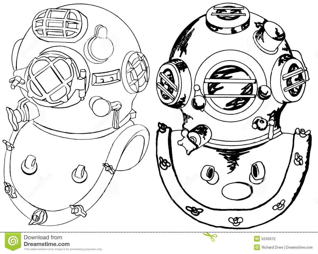Diver Helmet Stock Illustrations.