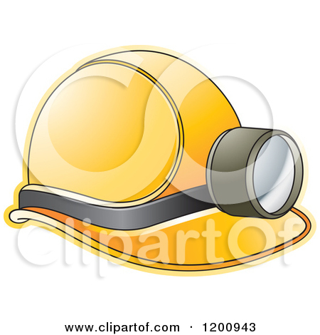 Clipart of a Yellow Mining Helmet and Lamp.
